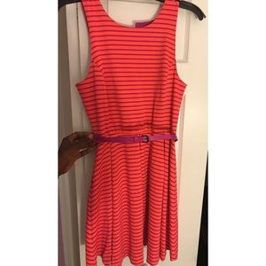 Pink/Orange striped dress Juniors M Nanette Lepore